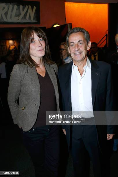 Carla BruniSarkozy and her husband Nicolas Sarkozy attend Sylvie Vartan performs at L'Olympia on September 15 2017 in Paris France