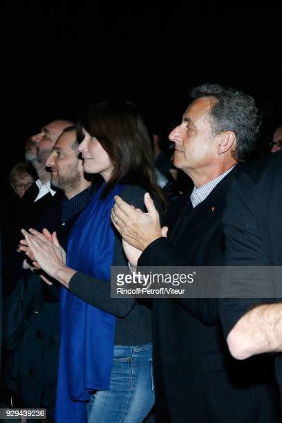 """Carla Bruni-Sarkozy and Nicolas Sarkozy attend """"Nana Mouskouri Forever Young Tour 2018"""" at Salle Pleyel on March 8, 2018 in Paris, France."""