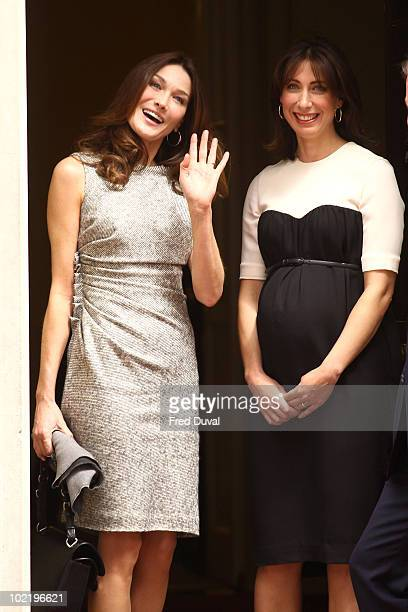 Carla BruniSarkozy and Samantha Cameron enter Downing Street on June 18 2010 in London England