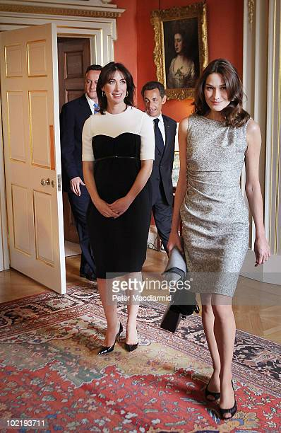 Carla BruniSarkozy and Samantha Cameron lead their husbands Prime Minister David Cameron and President Nicolas Sarkozy to lunch inside Number 10...