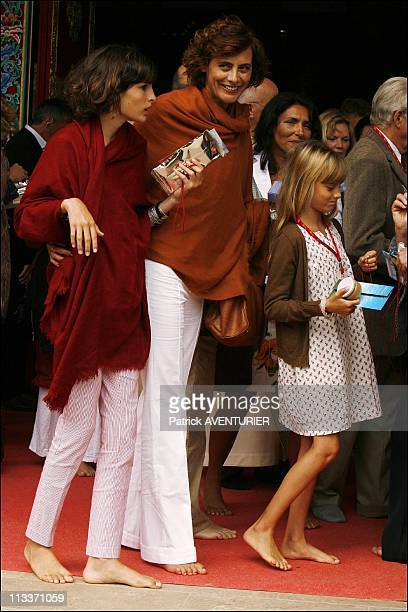 Carla BruniSarkozy And The Dalai Lama Inaugurate The Lerab Ling Temple On August 22 2008 Former top model Ines de La Fressange with her daughters...