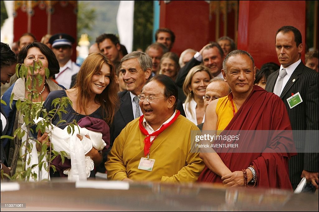 Carla Bruni-Sarkozy and the Dalai Lama Inaugurate the Lerab Ling temple On August 22, 2008. : News Photo