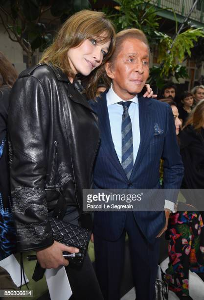 Carla BruniSarkozy and Valentino Garavani attend the Valentino show as part of the Paris Fashion Week Womenswear Spring/Summer 2018 on October 1 2017...
