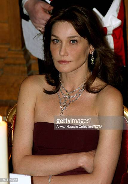 Carla Bruni-Sarkozy attends a Banquet at the Guildhall on March 27, 2008 in London, England.