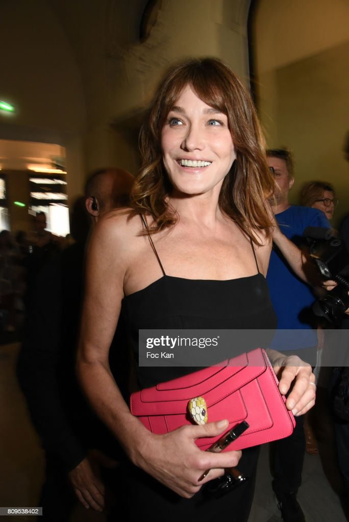 Carla Bruni-Sarkozy attends the Jean Paul Gaultier Haute Couture Fall/Winter 2017-2018 show as part of Haute Couture Paris Fashion Week on July 5, 2017 in Paris, France.