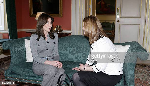 Carla BruniSarkozy chats to Sarah Brown at No 10 Downing St during the French President's official state visit on March 27 2008 in London England...