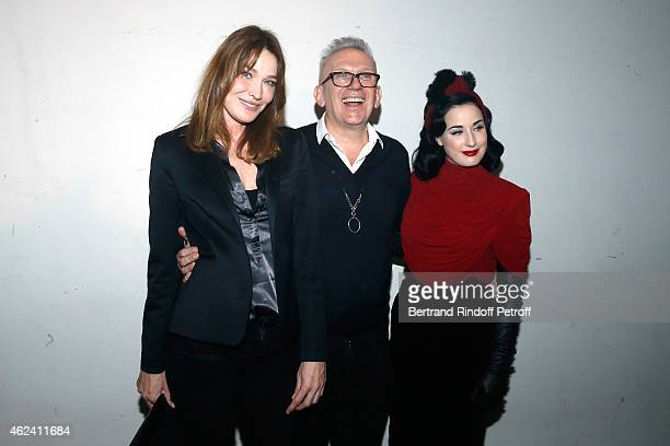Carla BruniSarkozy JeanPaul Gaultier and Dita Von Teese attend the Jean Paul Gaultier show as part of Paris Fashion Week Haute Couture Spring/Summer...