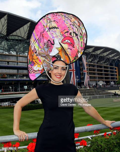Carla Creegan from Liverpool shows off her hat on Ladies day at the 2012 Royal Ascot meeting at Ascot Racecourse, Berkshire.