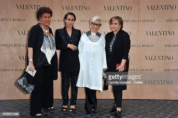 Carla Delfina Paola and Silvia Fendi during The Valentino Rome Fashion Show 'Mirabilia'