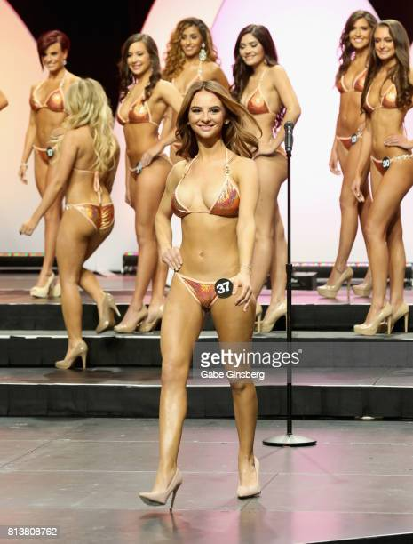 Carla DePonte of Johannesburg South Africa competes during the 21st annual Hooters International Swimsuit Pageant at The Pearl concert theater at...