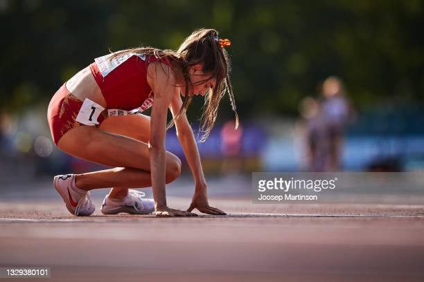 Carla Dominguez of Spain reacts in the Women's 5000m Final during European Athletics U20 Championships Day 4 at Kadriorg Stadium on July 18, 2021 in...