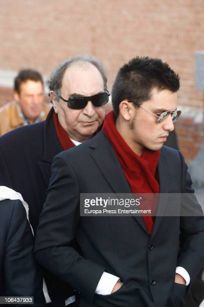 Carla Duval's ex husband Santiago Paredes and Carla Duval's son Juan Carlos attend the funeral for Carla Duval sister of vedette Norma Duval at San...