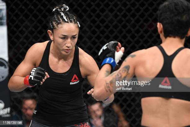 Carla Esparza battles Virna Jandiroba of Brazil in their women's strawweight bout during the UFC Fight Night event at BBT Center on April 27 2019 in...