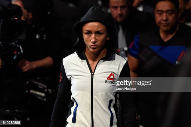 Carla Esparza enters the arena prior to facing Randa Markos of Iraq in their women's strawweight fight during the UFC Fight Night event inside the...