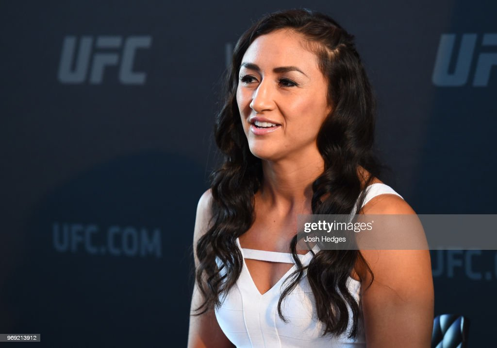 Carla Esparza interacts with media during the UFC 225 Ultimate Media Day at the United Center on June 7, 2018 in Chicago, Illinois.