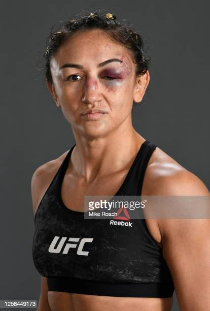 Carla Esparza poses for a portrait after her victory during the UFC Fight Night event inside Flash Forum on UFC Fight Island on July 26, 2020 in Yas...