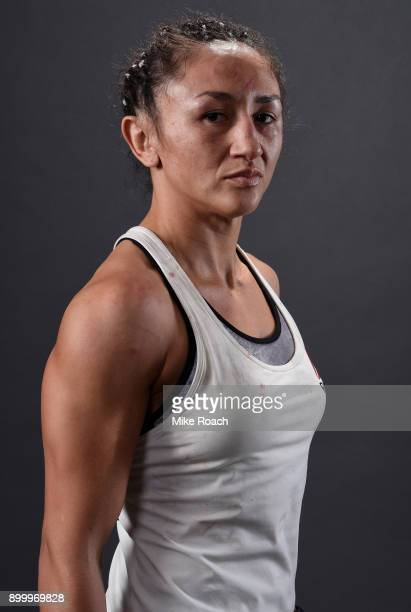 Carla Esparza poses for a portrait backstage after her victory over Cynthia Calvillo during the UFC 219 event inside TMobile Arena on December 30...