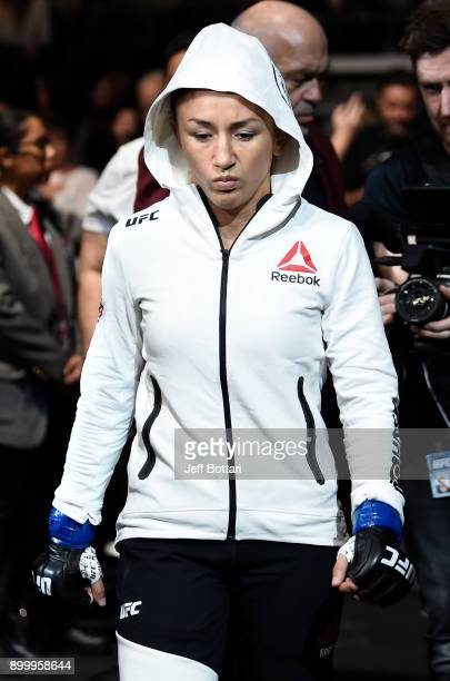 Carla Esparza prepares to fight Cynthia Calvillo in their women's strawweight bout during the UFC 219 event inside TMobile Arena on December 30 2017...