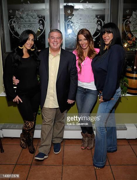 Carla Facciolo Elvis Duran Drita D'Avanzo and Angela 'Big Ang' Raiola attend Giovanna Restaurant on April 23 2012 in New York City