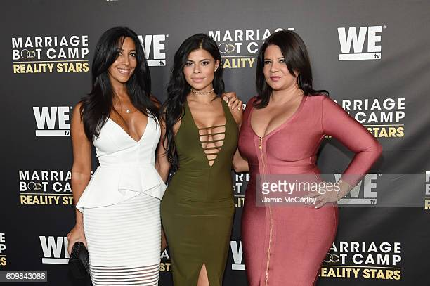 Carla Facciolo Marissa Jade and Karen Gravano attend The Season 6 Premiere of Marriage Boot Camp Reality Stars at Up Down on September 22 2016 in New...