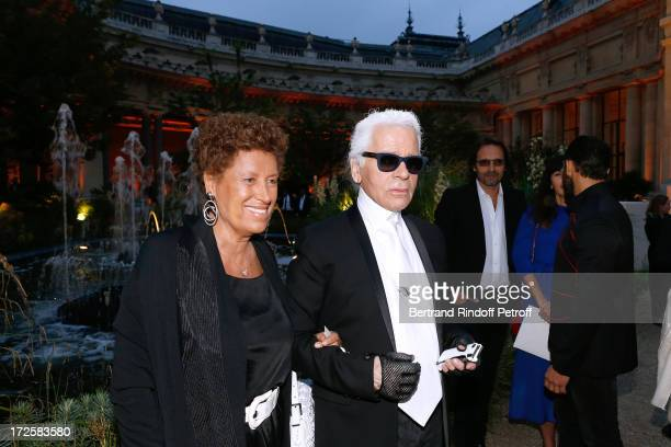 Carla Fendi and Fashion Designer Karl Lagerfeld attend 'The Glory Of Water' Karl Lagerfeld's Exhibition Preview and Fendi new shop opening party...