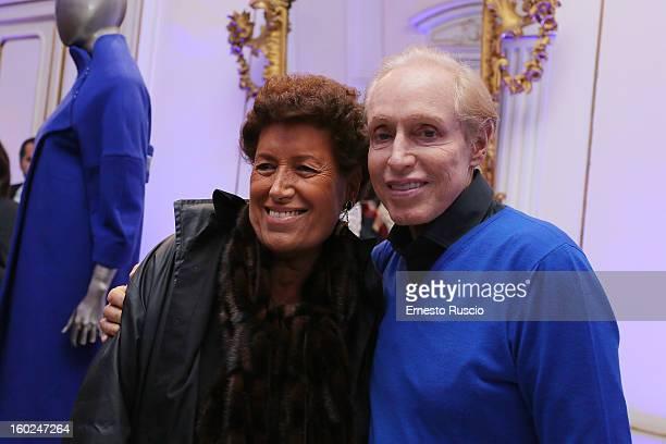 Carla Fendi and Renato Balestra attend the 'Be Blue Be Balestra' at Renato Balestra's Atelier on January 28 2013 in Rome Italy