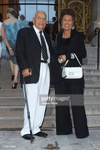 Carla Fendi and Speroni Candido arrive at 'The Glory Of Water' Karl Lagerfeld's Exhibition Dinner at Fendi on July 3 2013 in Paris France