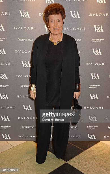 Carla Fendi attends a private dinner celebrating the Victoria and Albert Museum's new exhibition 'The Glamour Of Italian Fashion 1945 2014' at...