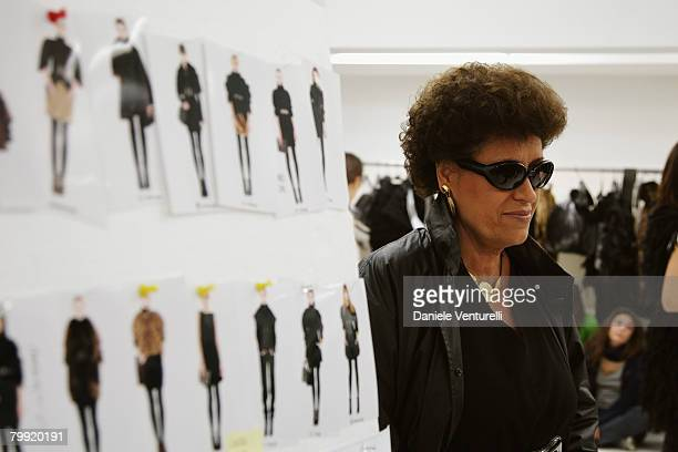 Carla Fendi attends the Fendi show as part of Milan Fashion Week Autumn/Winter 2008/09 on February 21 2008 in Milan Italy