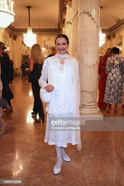 Carla Fracci is seen arriving at Teatro Alla Scala on September 10, 2018 in Milan, Italy.