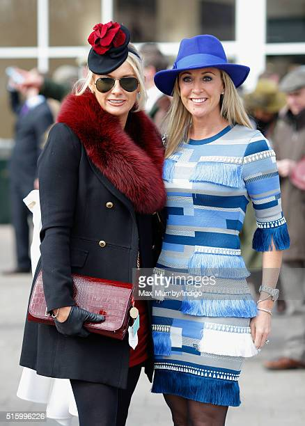 Carla Germaine and Chanelle McCoy attend day 2 Ladies Day of the Cheltenham Festival on March 16 2016 in Cheltenham England