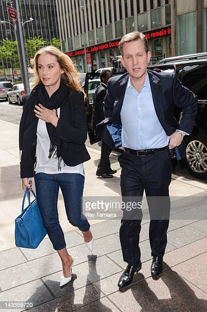 Carla Germaine and TV personality Jeremy Kyle enter the Sirius XM Studios on April 24 2012 in New York City