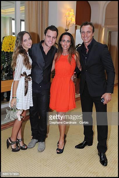 Carla Ginola Andrea Ginola Coralie Ginola and David Ginola attend the Evian Masters 2011