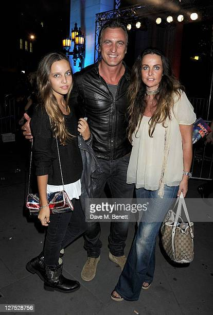 Carla Ginola David Ginola and Coraline Ginola attend an after party celebrating Press Night of Rock Of Ages The Musical at the Freemasons Hall on...