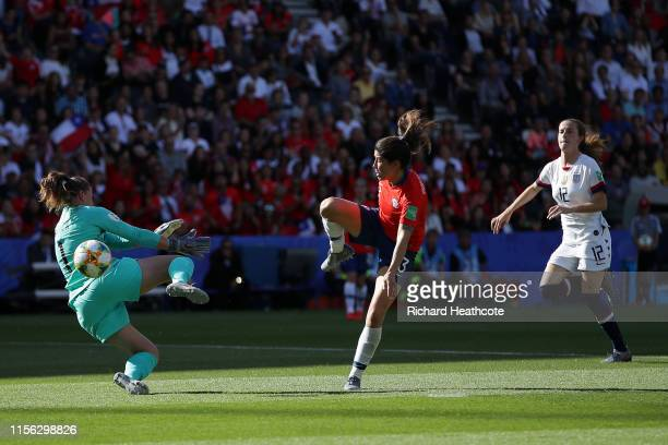 Carla Guerrero of Chile scores a goal past Alyssa Naeher of the USA which is then disallowed during the 2019 FIFA Women's World Cup France group F...