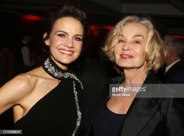 Carla Gugino and Jessica Lange pose at the 2020 Roundabout Theater Gala honoring Alan Cumming, Michael Kors & Lance LePere at The Ziegfeld Ballroom...