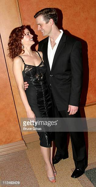 Carla Gugino and Peter Krause during 'After The Fall' Broadway Opening Night Arrivals and Curtain Call at American Airlines Theater in New York City...
