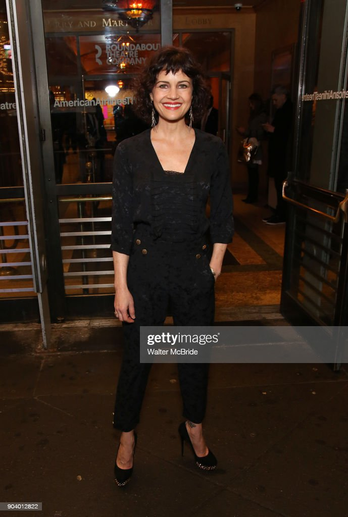 Carla Gugino attends the Broadway Opening Night Performance of 'John Lithgow: Stories by Heart' at the American Airlines Theatre on January 11, 2018 in New York City.