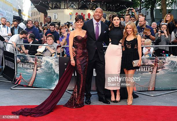 Carla Gugino Dwayne Johnson Alexandra Daddario and Kylie Minogue attend the UK Premiere of 'San Andreas' at Odeon Leicester Square on May 21 2015 in...