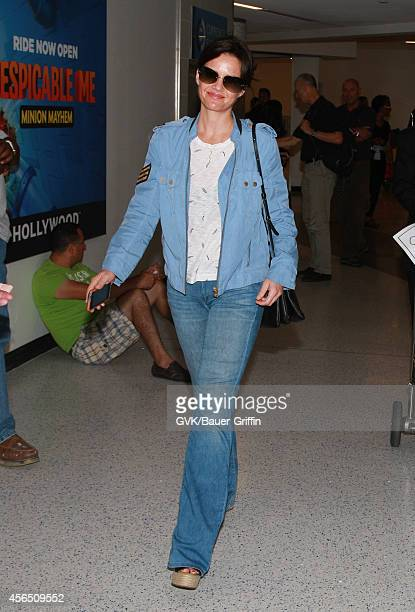 Carla Gugino is seen at LAX on October 01 2014 in Los Angeles California