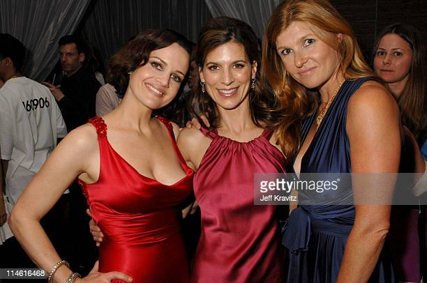 Carla Gugino Perrey Reeves and Connie Britton during 'Entourage' Third Season Premiere in Los Angeles After Party in Los Angeles California United...