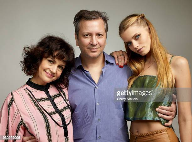 Carla Gugino Sebastian Gutierrez and Abbey Lee Kershaw from the film 'Elizabeth Harvest' poses for a portrait in the Getty Images Portrait Studio...