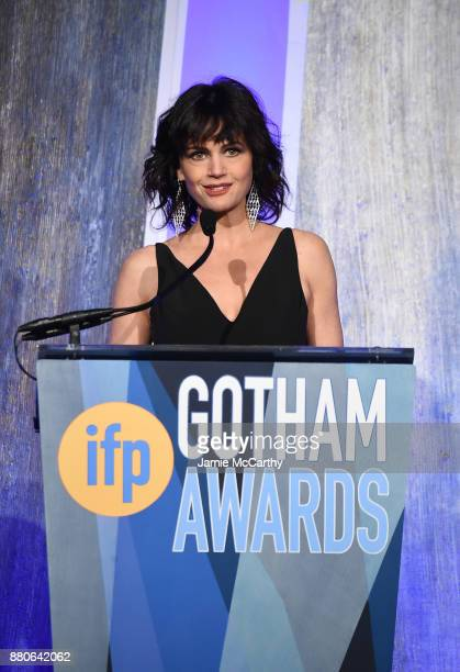 Carla Gugino speaks onstage at the 2017 IFP Gotham Awards at Cipriani Wall Street on November 27 2017 in New York City