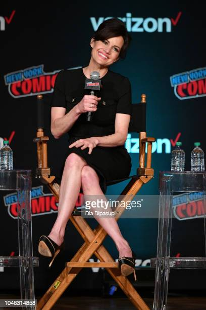 Carla Gugino speaks onstage at the Netflix & Chills panel during New York Comic Con 2018 at Jacob K. Javits Convention Center on October 5, 2018 in...