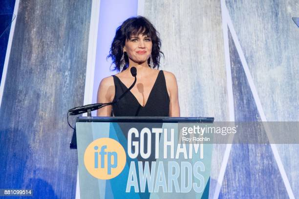 Carla Gugino speaks onstage during IFP's 27th Annual Gotham Independent Film Awards at Cipriani Wall Street on November 27 2017 in New York City
