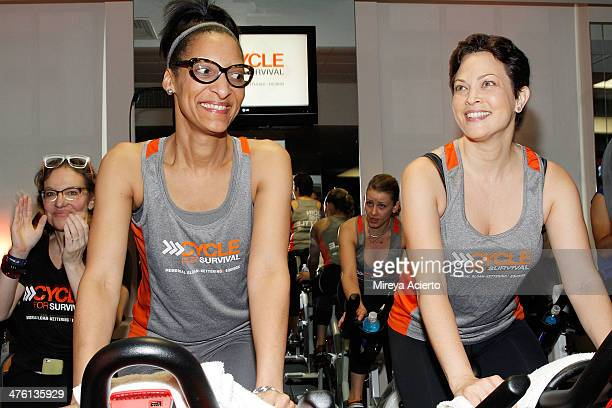 Carla Hall and Ellie Krieger attend the 2014 Cycle For Survival Benefit Ride for Memorial Sloan Kettering Cancer Center at Equinox Rock Center on...