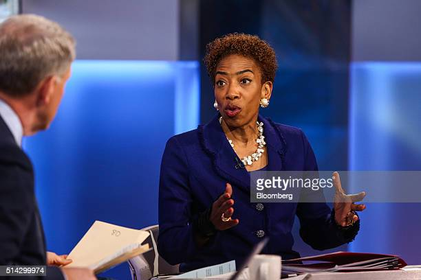 Carla Harris vice chairman of global wealth management at Morgan Stanley speaks during a Bloomberg Television interview in New York US on Tuesday...