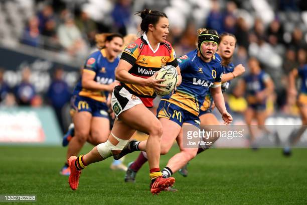 Carla Hohepa of Waikato charges upfield during the round four Farah Palmer Cup match between Otago and Waikato at Forsyth Barr Stadium, on August 07...