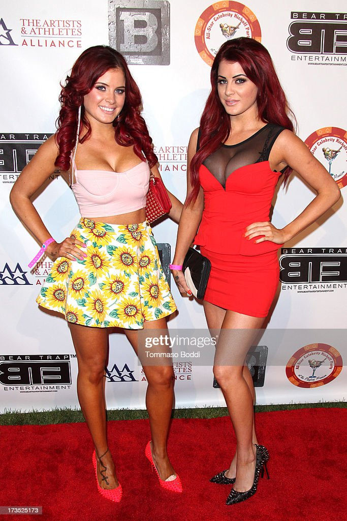 Carla Howe (L) and Melissa Howe of The Howe Twins attend the 8th annual BTE All-Star Celebrity Kickoff Party held at The Playboy Mansion on July 15, 2013 in Beverly Hills, California.
