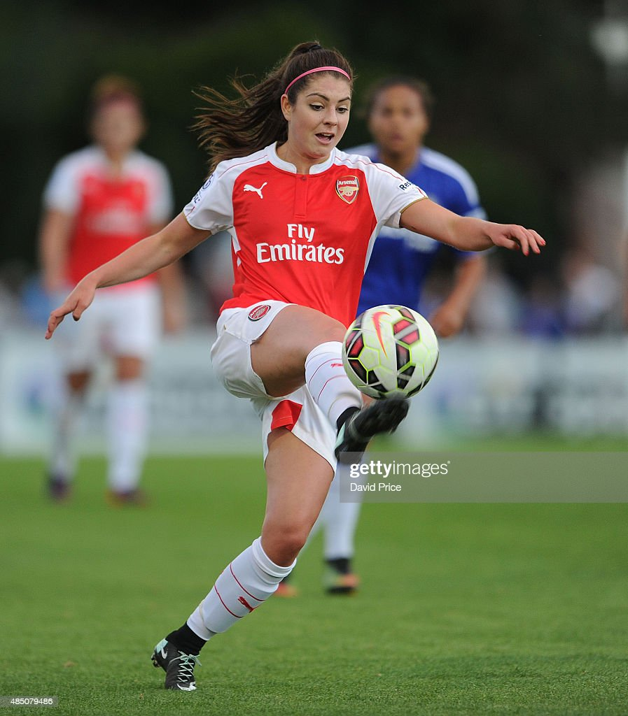 Carla Humphrey of Arsenal during the match between Arsenal Ladies and Chelsea Ladies at Meadow Park on August 23, 2015 in Borehamwood, England.